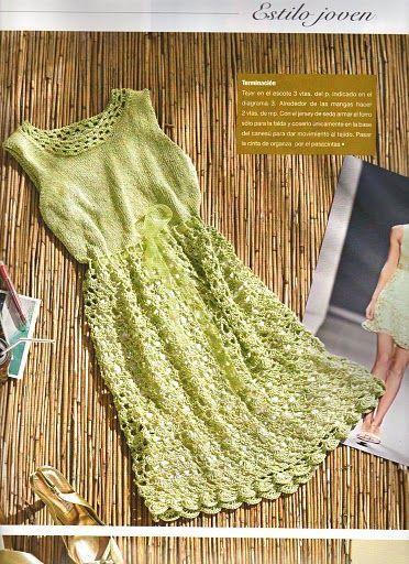 Especial vestidos de crochê com gráficos    Confira os modelos e looks em crochê