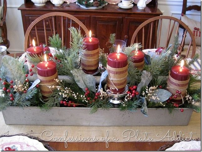 confessions of a plate addict a farmhouse christmas in the dining room table wood box - Christmas Dining Room Table Centerpieces