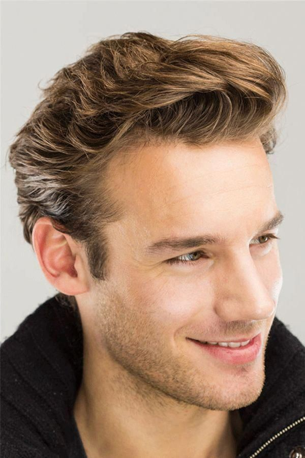 Wavy Brush Up Hairstyle Human Hair Full Lace Men's Wig -   12 hairstyles Mens new looks ideas