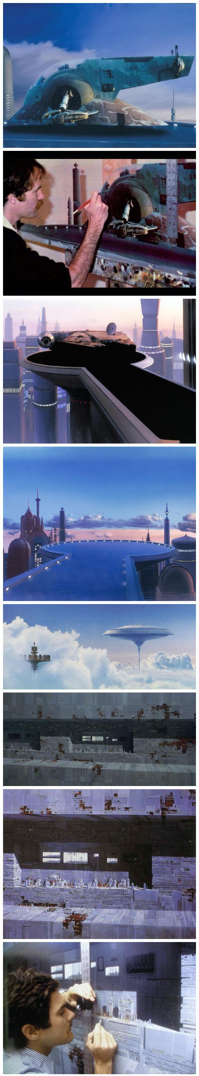 """Gli incredibili """"matte painting"""" della prima trilogia di Star Wars"""