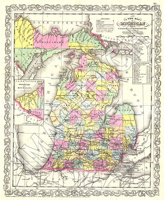 Vintage State Map - Michigan 1856 in 2019 | Products | Michigan ...