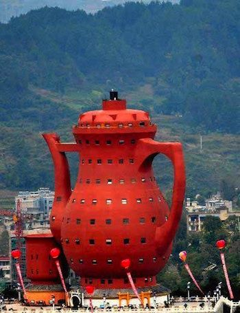 Spot of tea anyone? Teapot Museum- China. This must be the building that the little old lady that lived in a shoe was brought up in, the little young girl that lived in a teapot...
