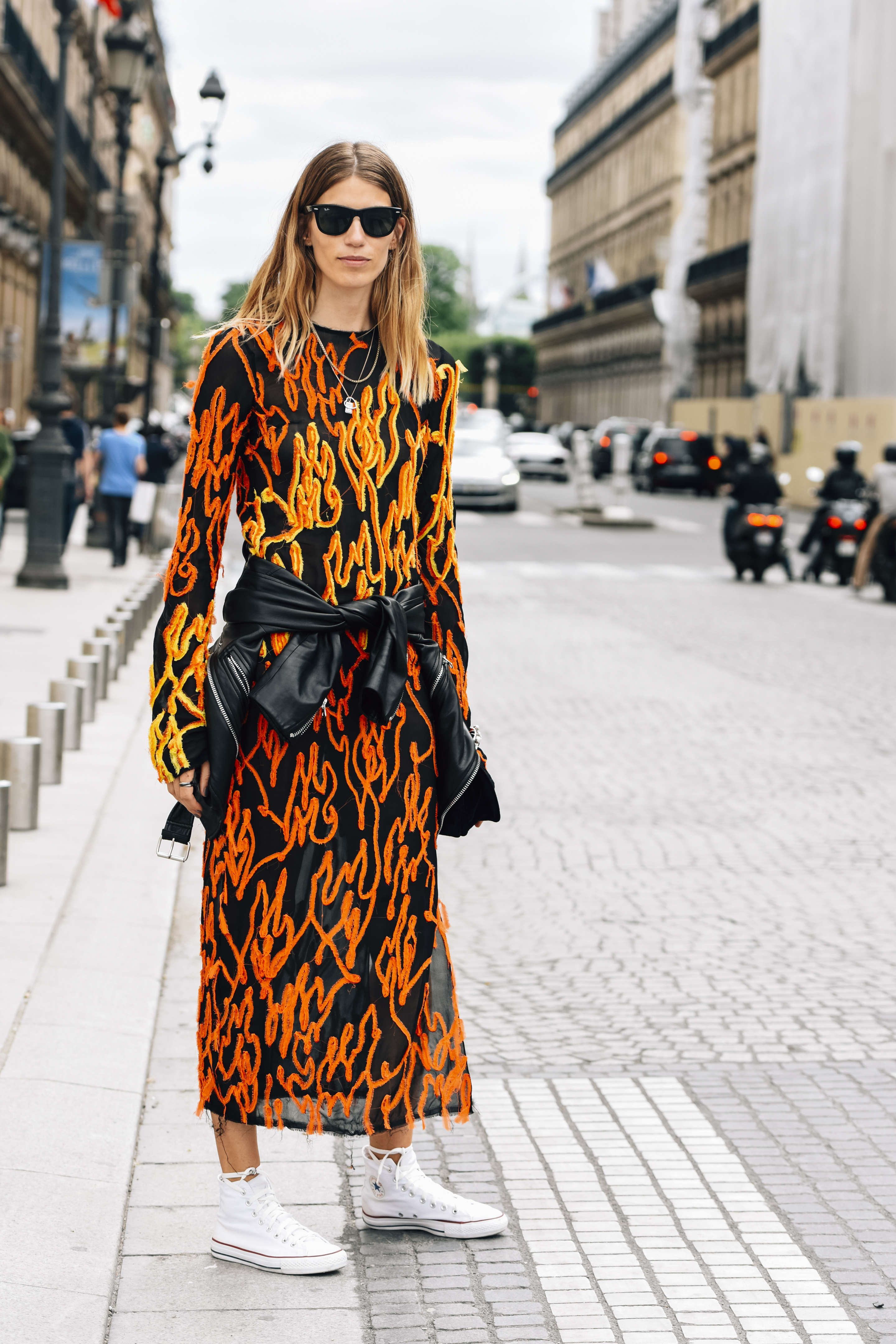 July 4, 2016  Tags Orange, Black, Sunglasses, White, Paris, Veronika Heilbrunner, Women, Prints, Leather Jackets, Frayed, Sneakers, Dresses, Necklaces, Converse, Acne Studios, Ray-Ban, Textured, 1 Person, FW16 Women's Couture