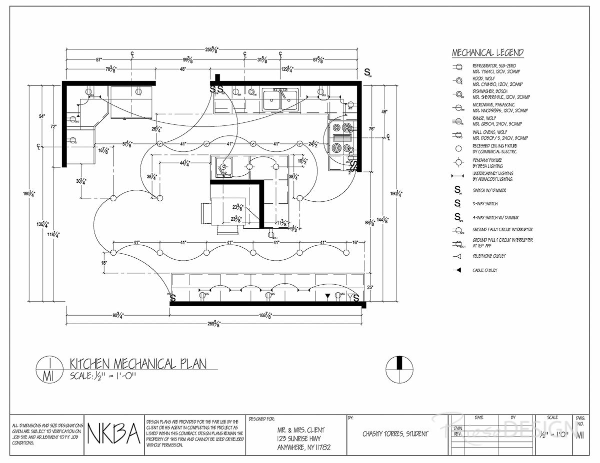 Kitchen mechanical lighting plan all switches have for Kitchen lighting plan