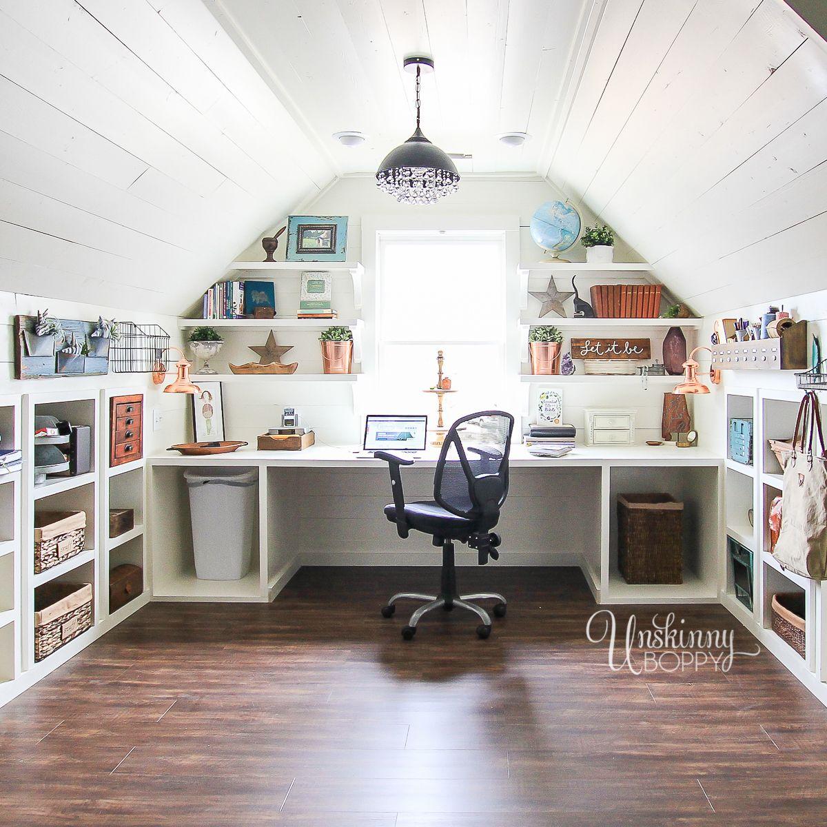 Amazing Office Craft Room Organization In The Attic