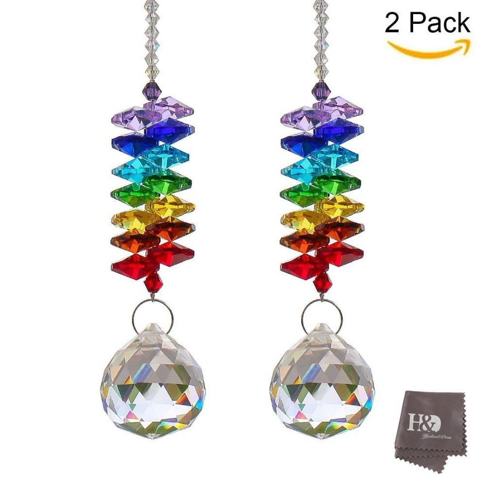 2pcs Hanging Rainbow Suncatcher Crystal Prisms Angel Ball Bead Drops Display