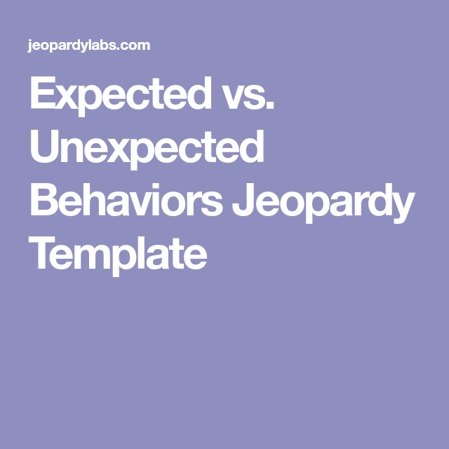 Expected vs  Unexpected Behaviors Jeopardy Template | Counseling