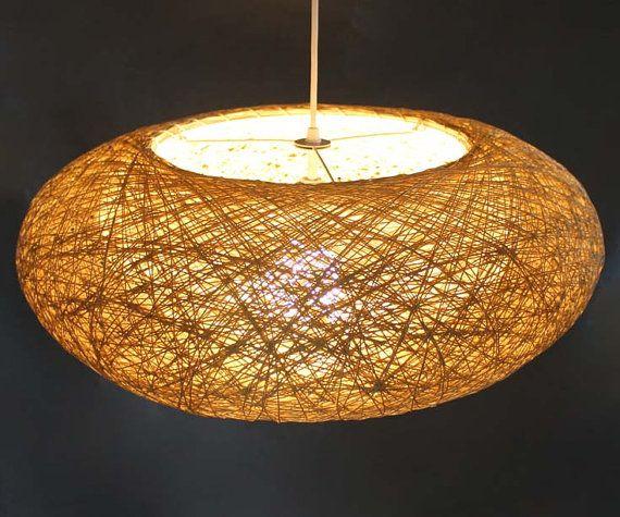 Double Lampshade Hemp Rope Oval Pendant Lighting Decor