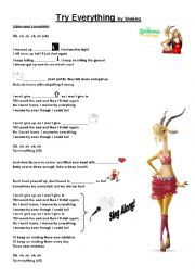 English worksheet: Try Everything - Zootopia Song by Shakira ...