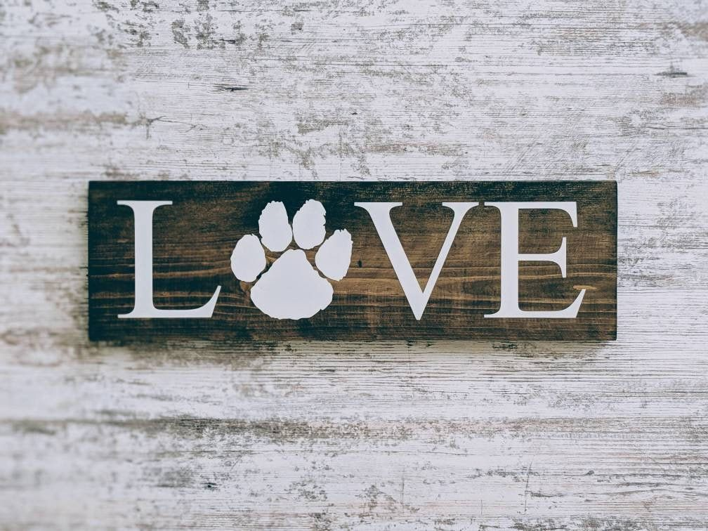 Paw print love Sign. Dog Sign. Cat Sign.Pet Home Decor