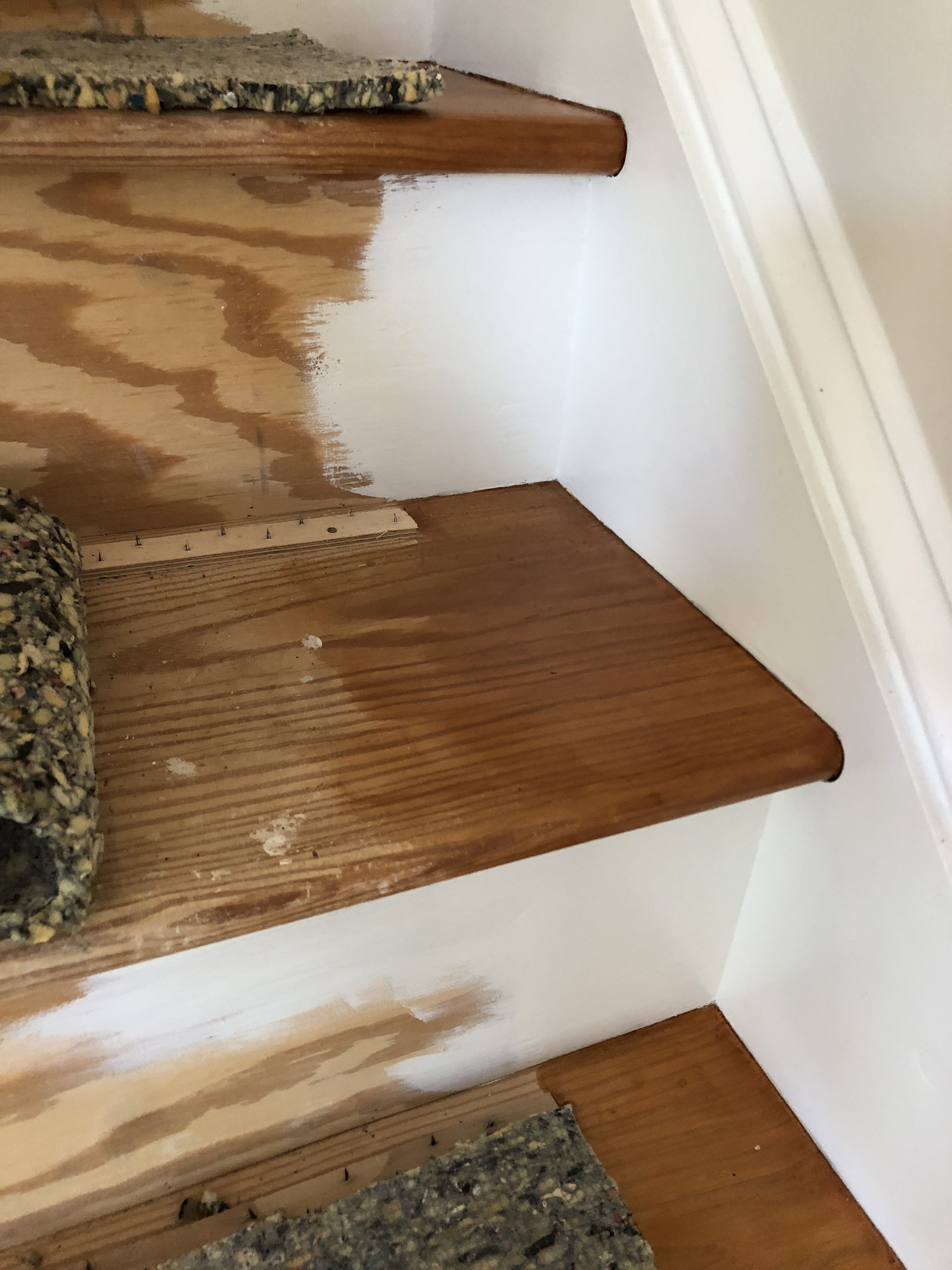 Best Stained Pine Stair Treads And Painted Risers White 400 x 300