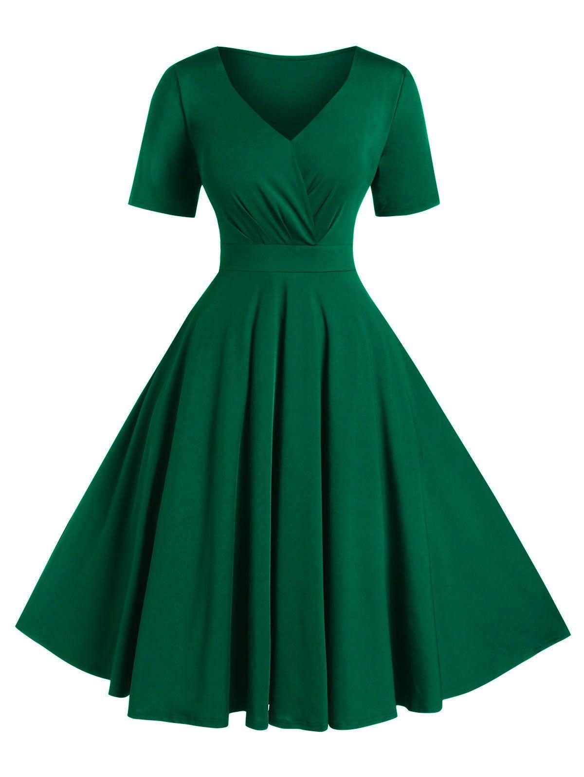 Plus Size A Line Solid V Neck Vintage Dress Affiliate Solid Line Size Dres Dresses For Apple Shape Cowgirl Outfits For Women Dresses Vintage Dresses