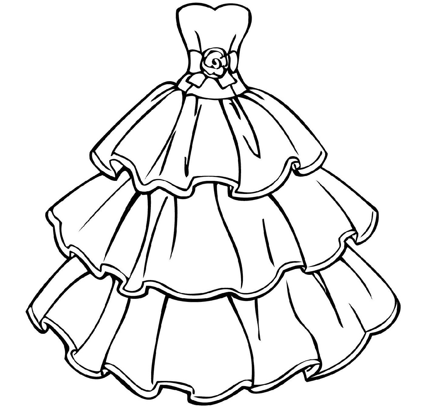 Cute Wedding Dress Coloring Pages