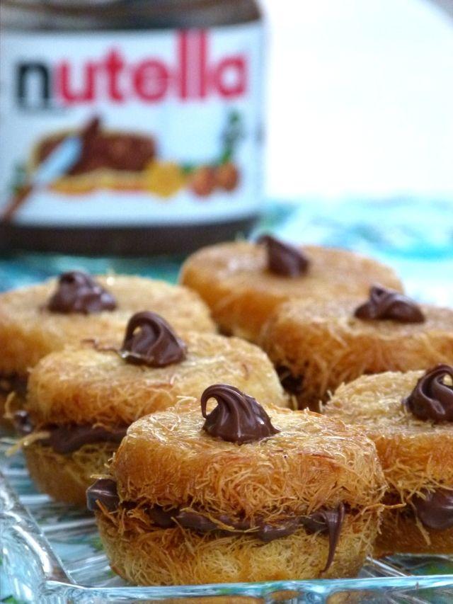 Mini - Kunafa mit Nutella - Kunafa Ramadan Gebäck Rezept dessert - internationale küche rezepte