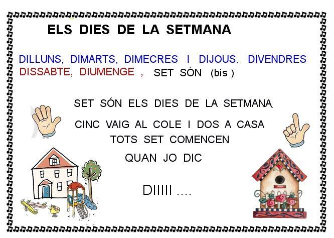 Els Dies De La Setmana Dàmaris Gelabert Videos9 Net Educacion Infantil Canciones Infantiles Educacion