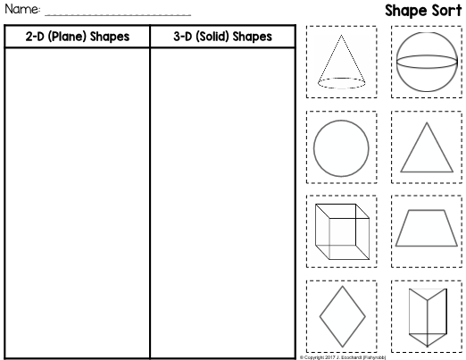This Is A Cut And Paste Worksheet For Distinguishing Between 2 D
