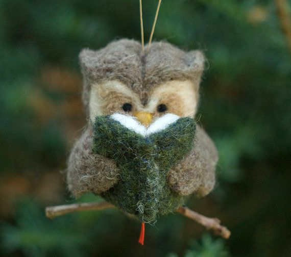 A nice gift idea for a book lover! Needle Felted Owl Ornament - Reading on Etsy, $26.00