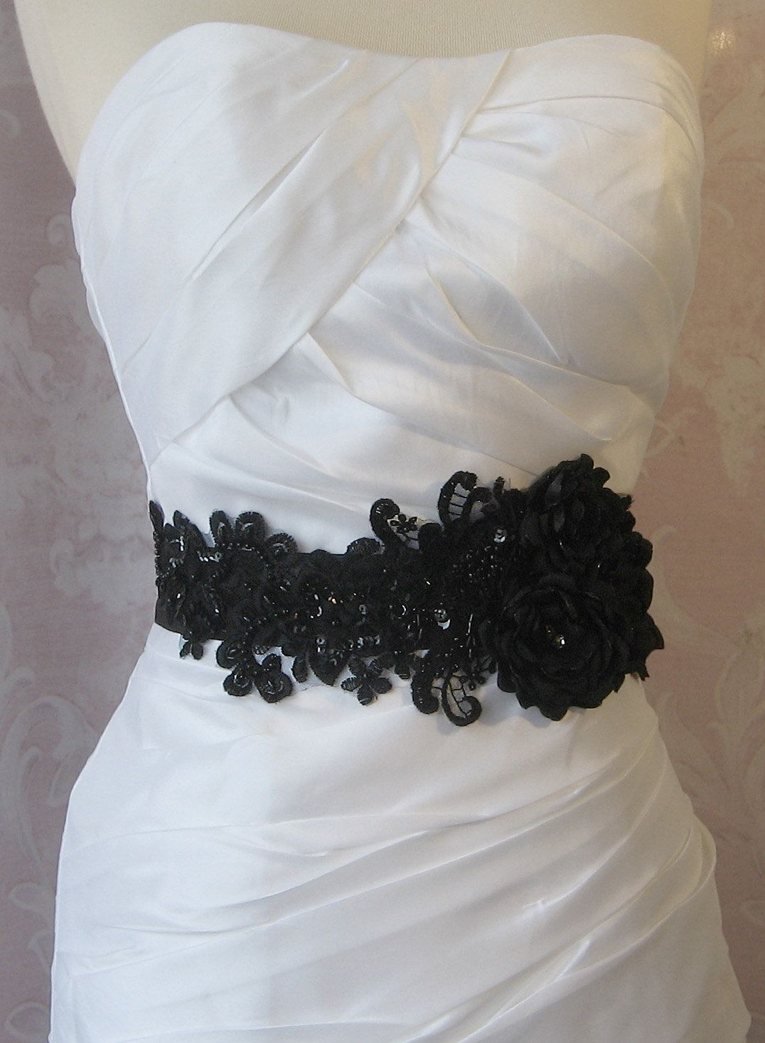 Black Bridal Sash, Wedding Belt with Handmade Flowers