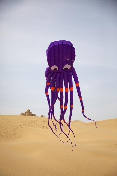 Chris Steele-Perkins CHINA. INNER MONGOLIA. XIANGSHAWAN Desert Tourist Resort on the edge of the Gobi Desert. Kite as a giant squid.