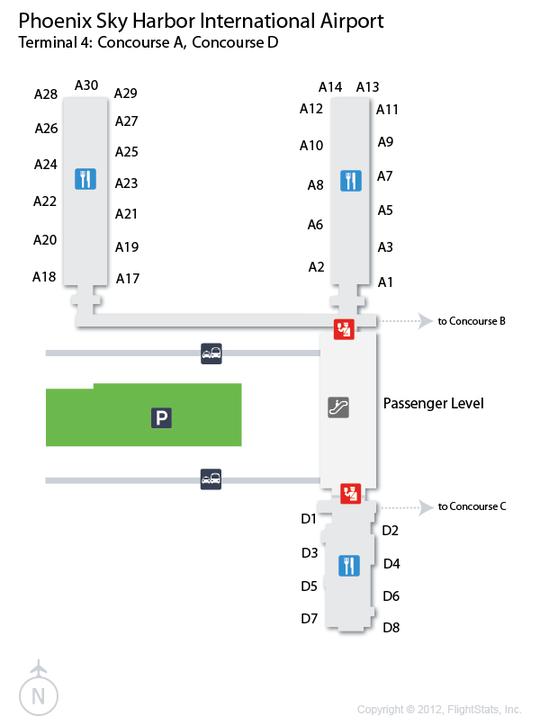 PHX) Phoenix Sky Harbor International Airport Terminal Map ...