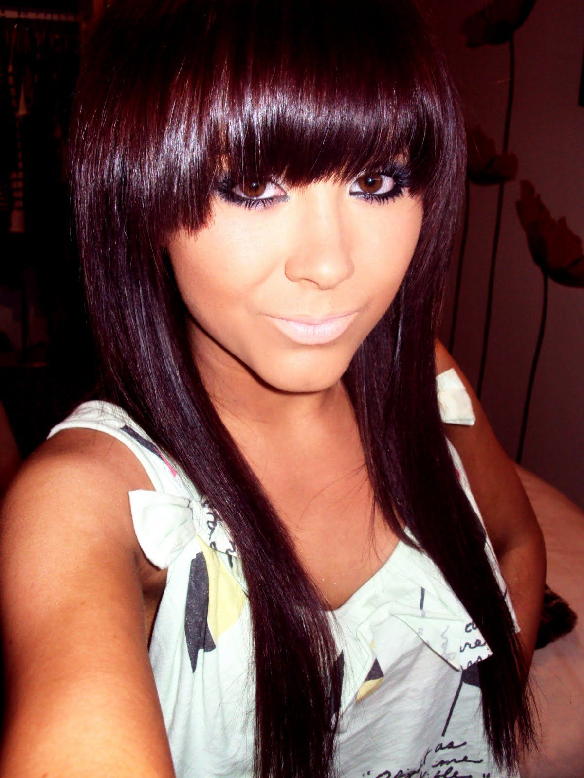 Dark Brown Violet Hair Color think I look Asian here S