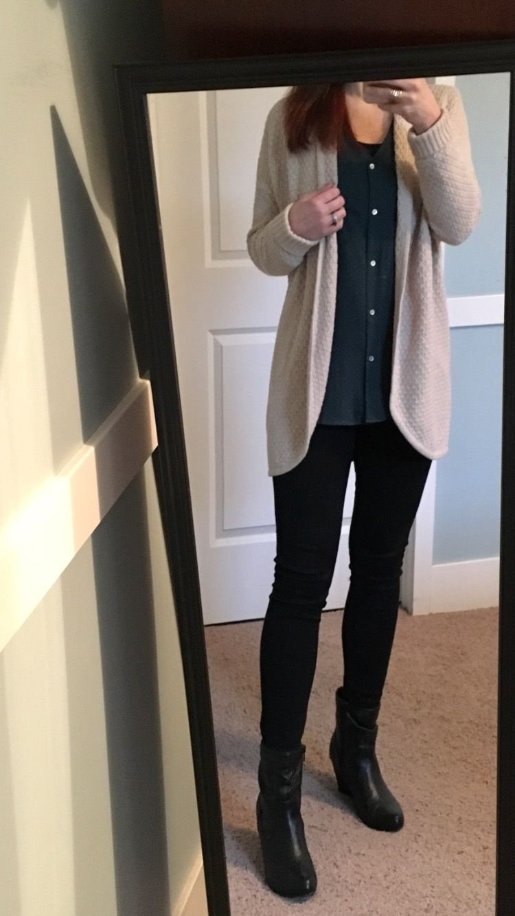 Beige cardigan, forest green top, black skinny jeans, short black ...