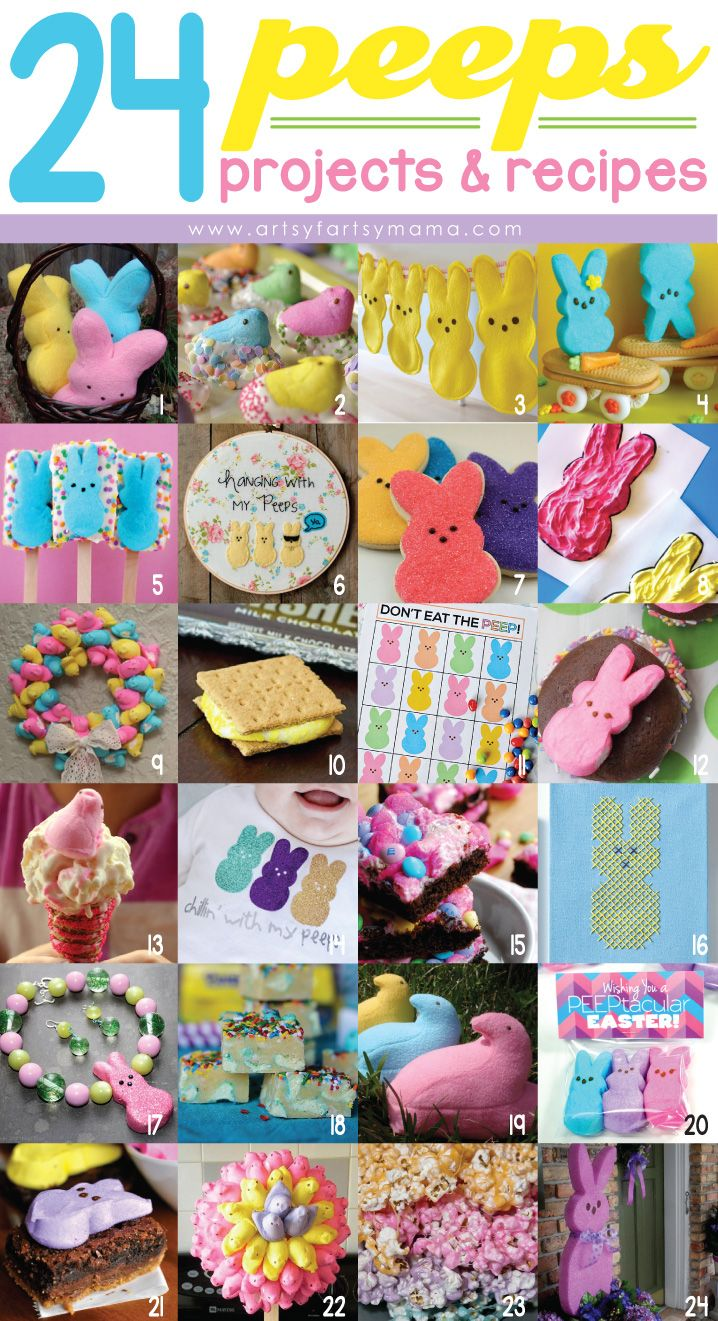 24 Peeps Projects & Recipes at artsyfartsymama.com #Easter #Peeps #EasterCrafts #EasterRecipes