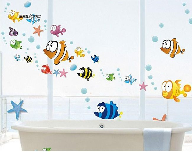 colorful fish wall decals removable sticker home decor art kids nursery bathroom