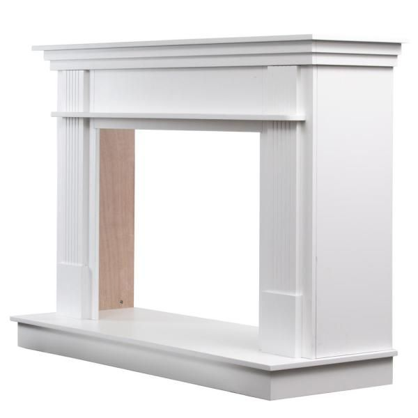 Ashley 56 1 2 In X 40 In Freestanding Wood Mantel In Smooth White Ashfsmk W The Home Depot Fireplace Mantel Surrounds Freestanding Fireplace Contemporary Fireplace Mantels
