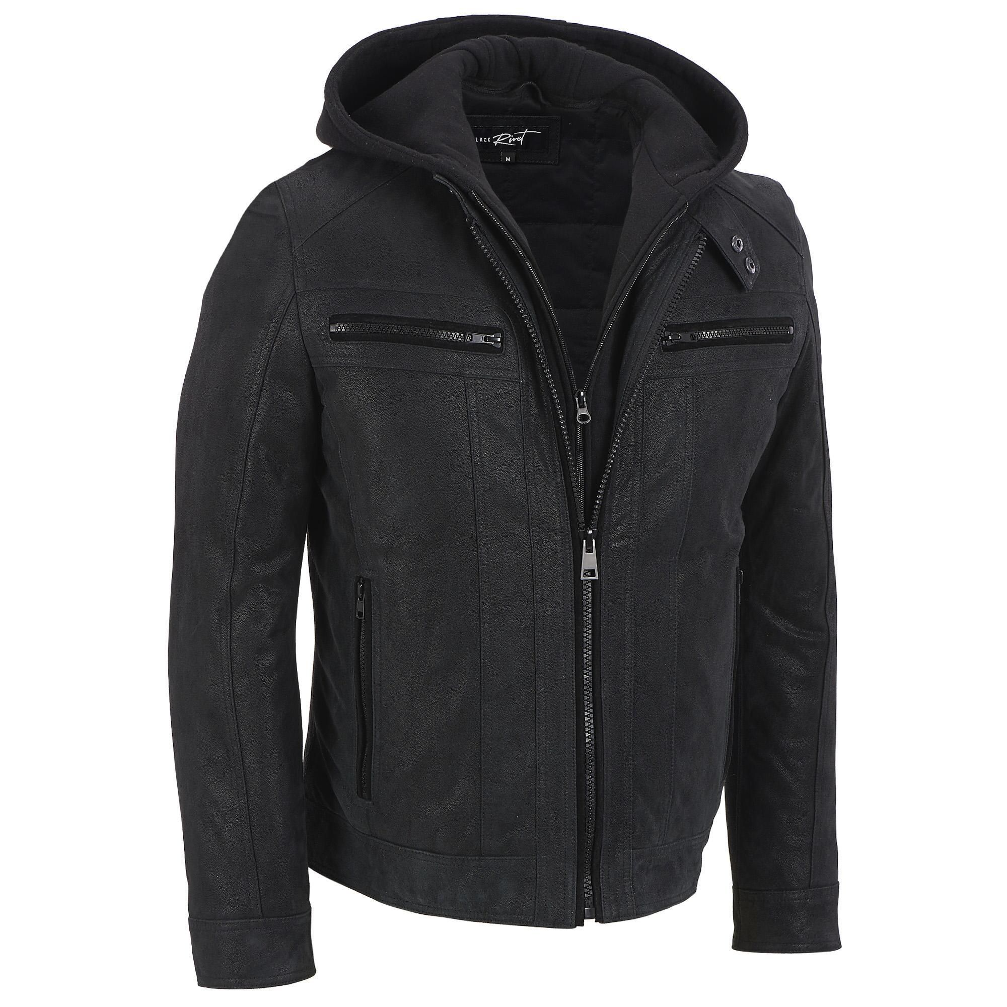 Big & Tall Black Rivet Leather Hooded Cycle Jacket w