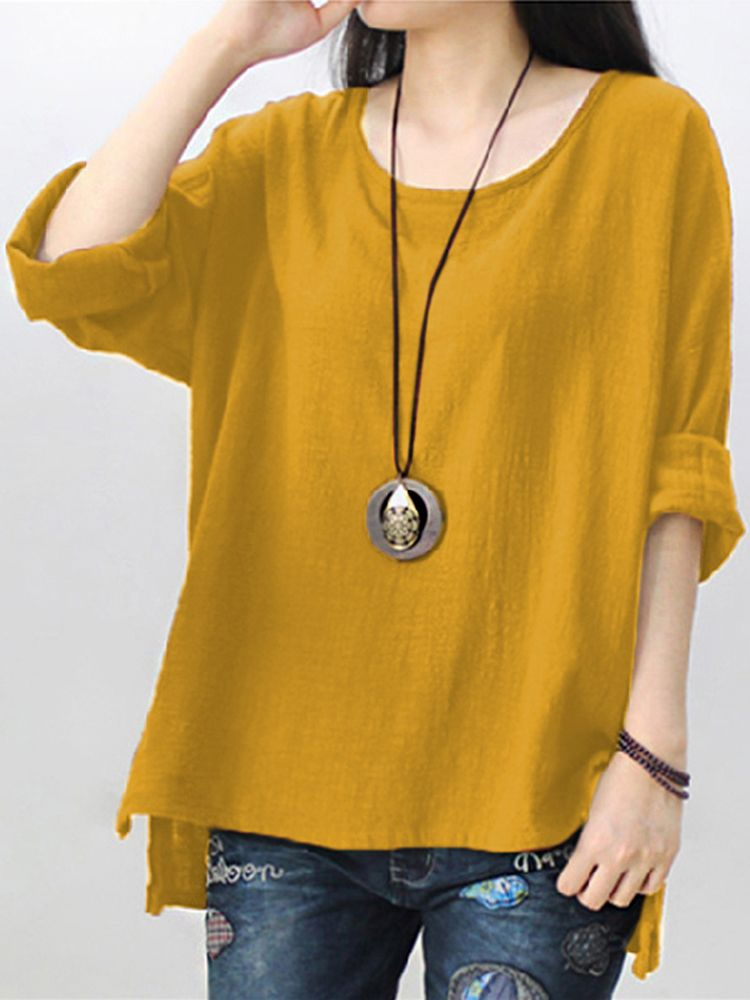 Retro Women Scoop Neck Long Sleeve Pure Color Side Slit Baggy Shirts ... 795be7509fa