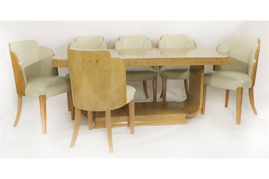 an art deco burr maple dining table raised on a u shaped stand and six dining chairs sold for on october 2015 - U Shape Dining Room 2015