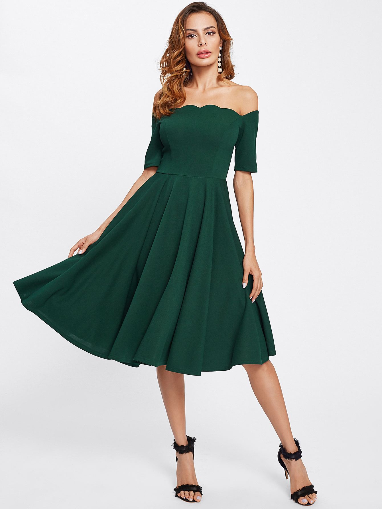 239e077221 Shop Scalloped Collar Pleated Dress online. SheIn offers Scalloped Collar  Pleated Dress & more to fit your fashionable needs.