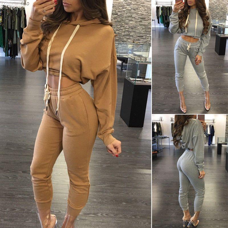 fd76adf9ea4765 Women Leisure Co-Ord Set Ladies Long Sleeve Hoodie Crop Top Pant Loungewear  Suit