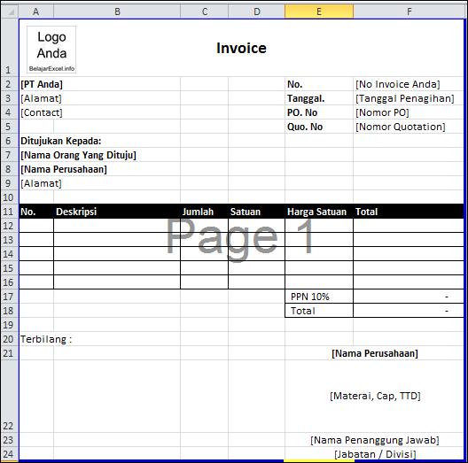 contoh invoice penjualan di excel Sederhana, Tanggal