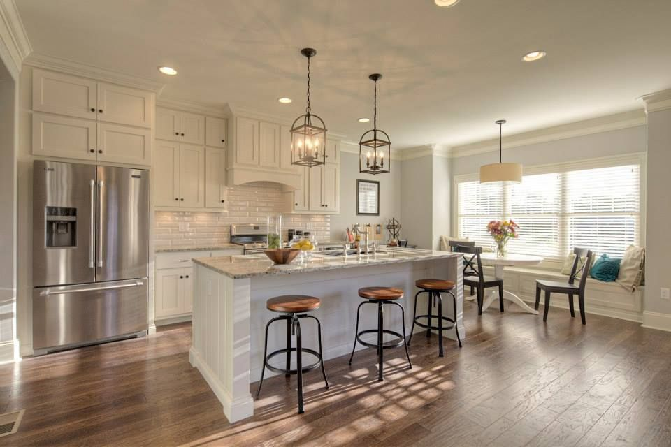 Love this kitchen. Crema pearl granite countertops | Kitchen and ...