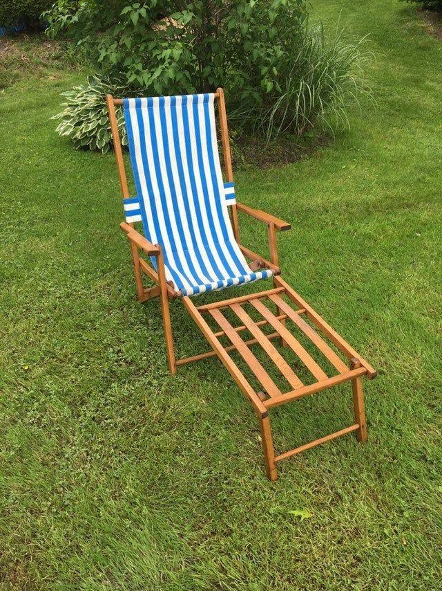 VINTAGE BEACH CHAIR, vintage wood folding beach chair and