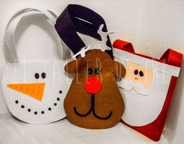 Diy bolsas de fieltro para navidad books worth reading - Manualidades con fieltro para navidad ...