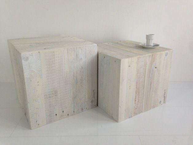 2er Set, Würfel Aus Palettenholz, 100 % Recycling