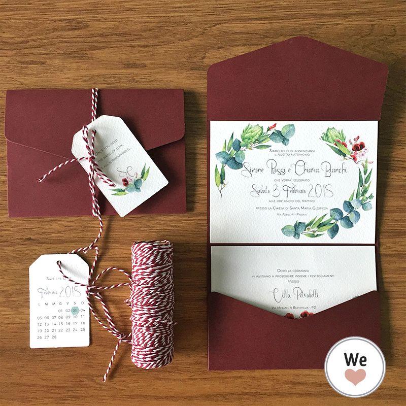 Partecipazioni Matrimonio Acquerello.Partecipazione Matrimonio Botanic Green Con Disegni Acquerello