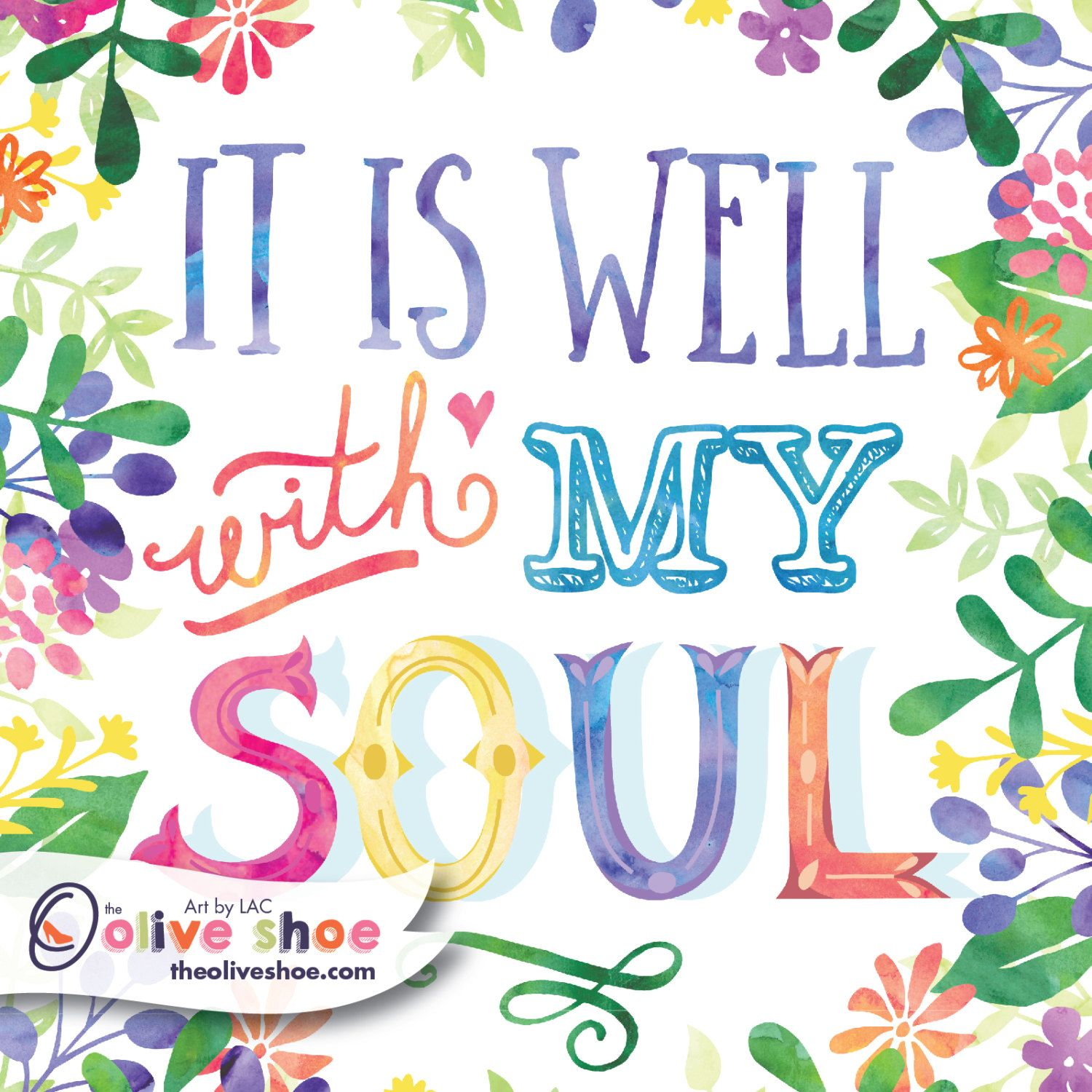 Well With My Soul | Wall Decor | Archival Ink U0026 Paper | Garden Quote |