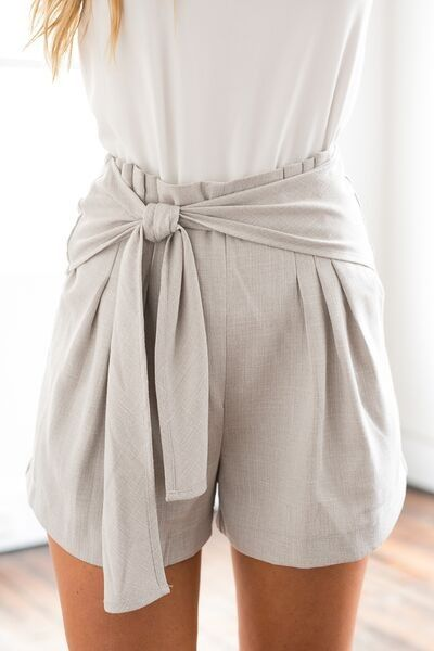 c8f8d553978 Light Grey High Waisted Shorts w  Tie Detail
