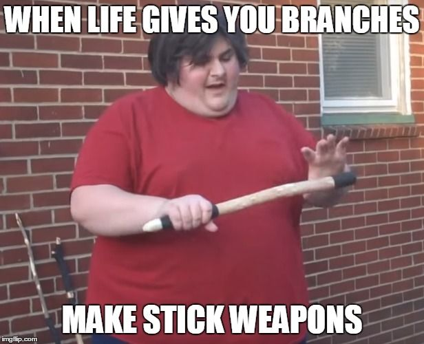 Funny Fat Kid Meme : When life gives you branches make stick weapons meme