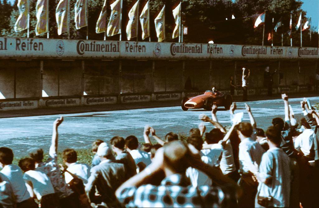 Juan Manuel Fangio wins the German GP at the Nürburgring, August 4, 1957.