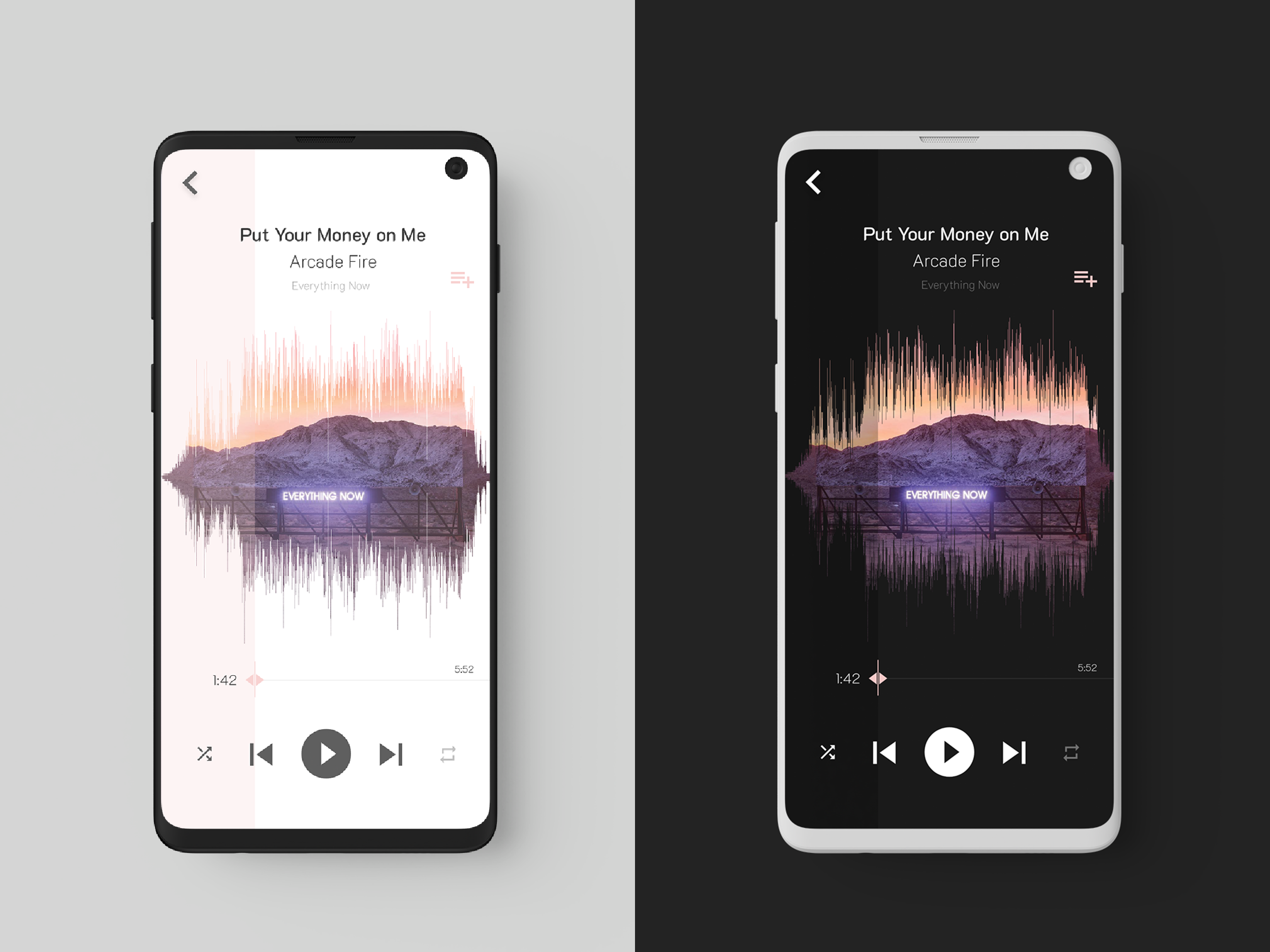 Music Player Light/Dark Mode Light in the dark, Music