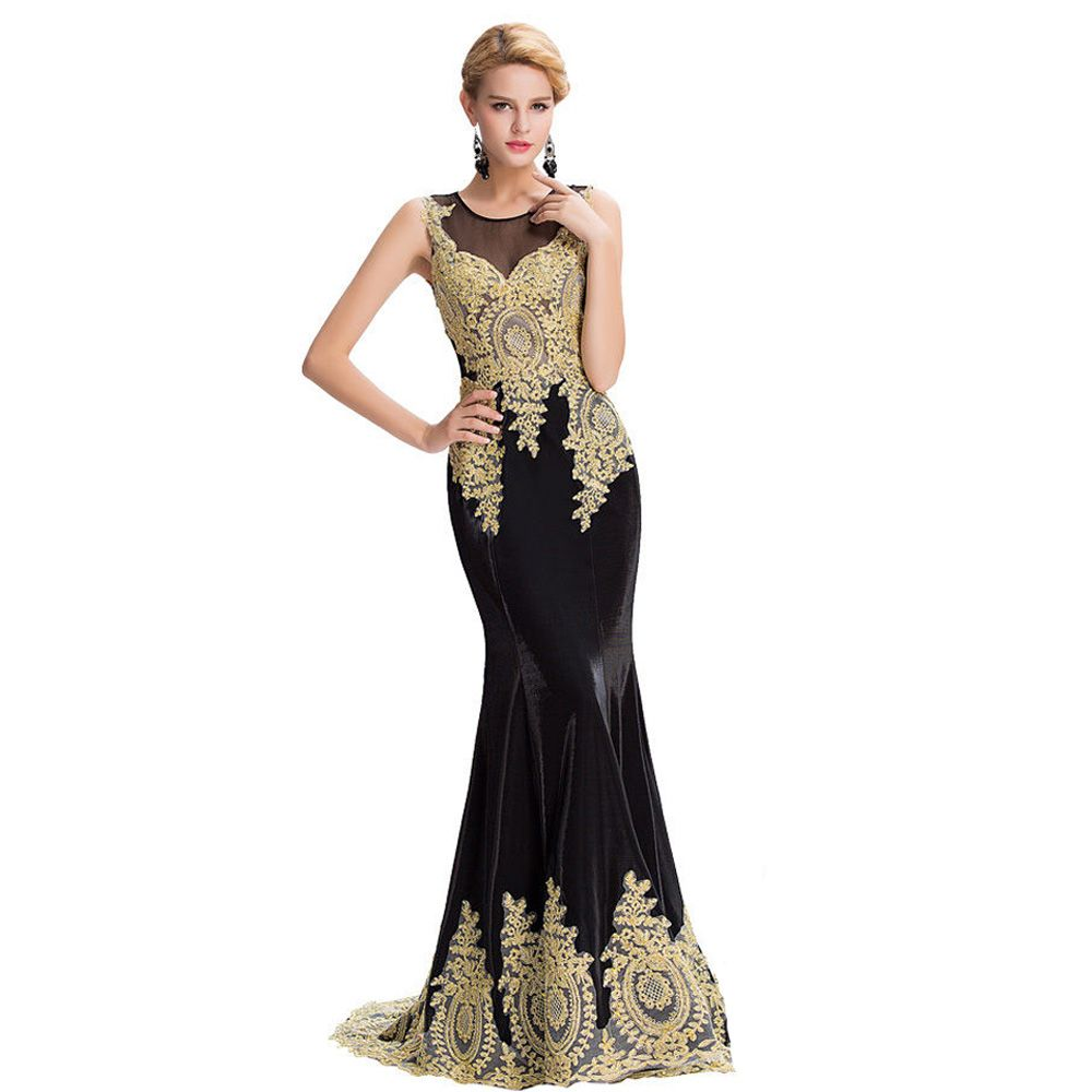 Long gold lace appliques see through dubai arabic party formal dress