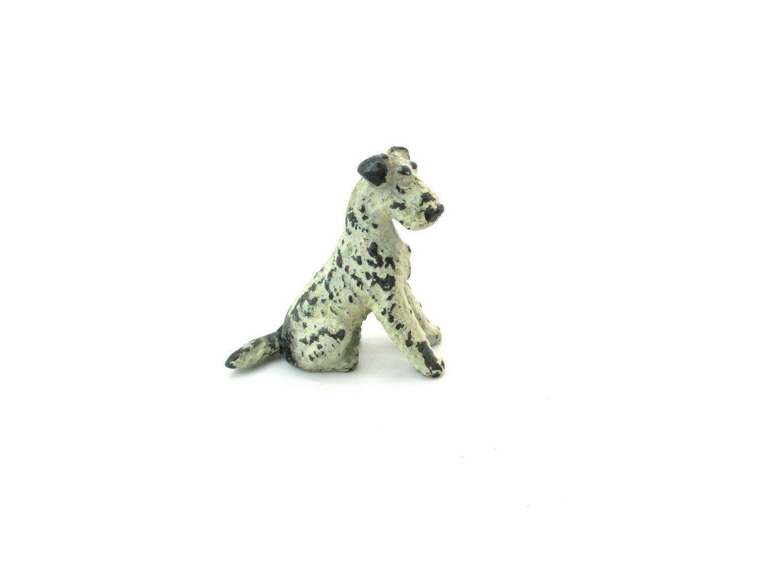 Mini Fox Terrier Figurine, Sitting Dog, Painted Cast Metal