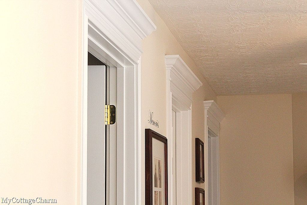 I Want To Do This And Then Paint All My Doors Upstairs Make Them Pop Crown Molding Above Door