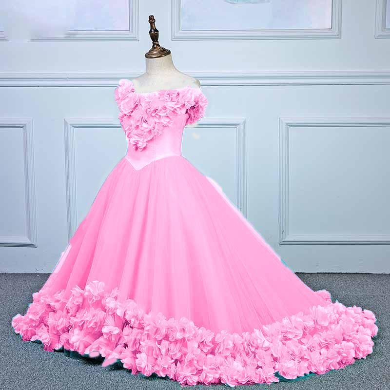 4fadcca08bd Sweet Pink Rose Ball Gown Flower girls formal dress Pageant Gown Children  Party Gown Communion Dress