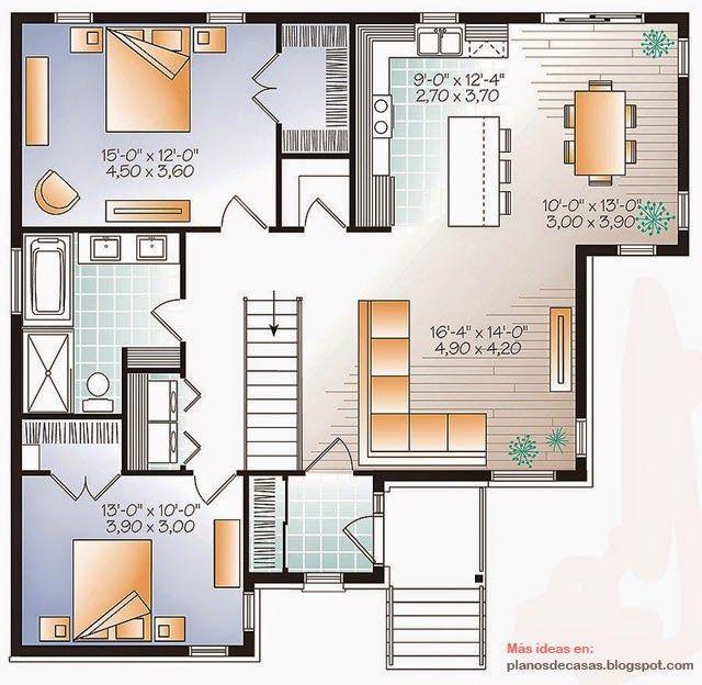 Plano de casa moderna de 115 m2 planos pinterest for Planos de casas con piscina